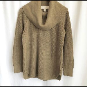 Micheal Kors army green oversized cowl neck knit